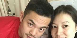 Congratulations to Lin Dan and Xingfang. (photo: Lin Dan's Weibo)