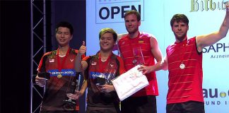 Ong Yew Sin, Teo Ee Yi, Johannes Schoettler, and Michael Fuchs (from left) are on the podium of the 2016 Bitburger Open.