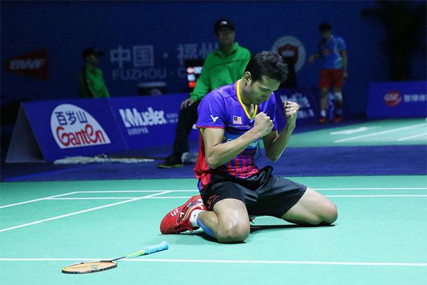 Iskandar Zainuddin celebrates after his quarter-finals victory at the 2016 China Open. (photo: AP)