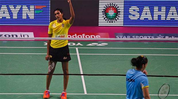 P.V. Sindhu celebrates after beating Saina Nehwal in the 2017 Premier Badminton League semi-finals. (photo: PBL)