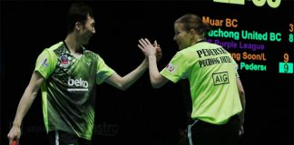 Christinna Pedersen/Yoo Yeon Seong are a solid mixed doubles pair for Puchong United BC. (photo: Purple League)