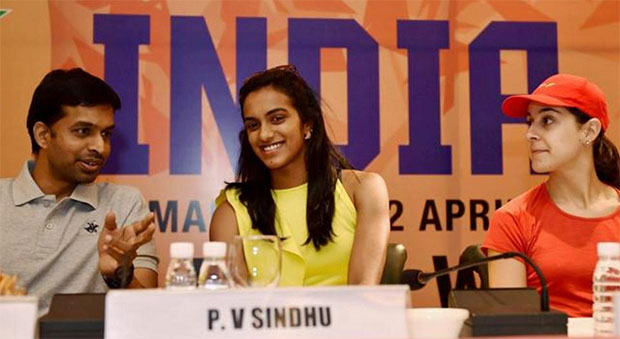 (From left) Pullela Gopichand, P.V. Sindhu and Carolina Marin during a pre-tournament press conference in New Delhi. (photo: PTI)