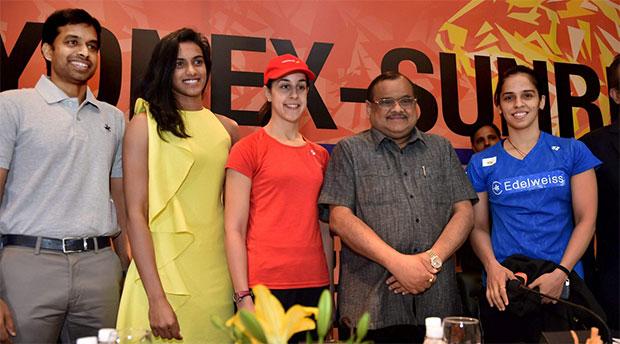 (From left)India's badminton head coach Pullela Gopichand, P.V. Sindhu, Carolina Marin, BAI President Akhilesh Das Gupta, and Saina Nehwal during a press conference at 2017 India Open World Superseries. (photo:PTI)
