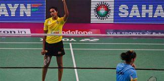 P.V Sindhu beats Saina Nehwal in the 2017 India Open quarter-finals. (photo: AP)