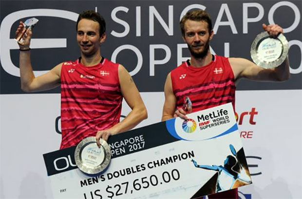 Congratulations to Mathias Boe/Carsten Mogensen for winning the 2017 Singapore Open. (photo: AFP)