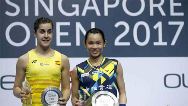 Are Tai Tzu-ying (R) & Carolina Marin the Lee Chong Wei & Lin Dan in women's singles? (photo: EEF)