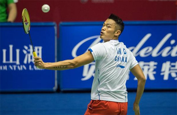 A backhand return from Lin Dan at the 2017 China Masters.