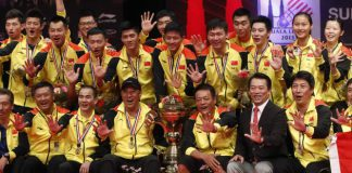 Team China pose on the podium during the award ceremony in the 2015 Sudirman Cup final. (photo: BWF)