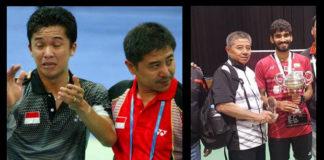Mulyo Handoyo with Taufik Hidayat (left) and with Kidambi Srikanth.