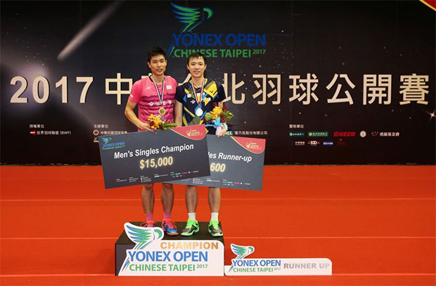 Congratulations to Chou Tien Chen for winning the 2017 Chinese Taipei men's singles title.