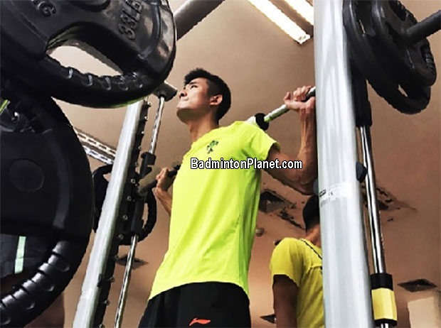 Chen Long keeps himself in top shape, strength, flexibility ahead of the World Championships.