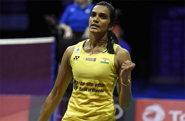 P.V. Sindhu fights hard in the 2017 World Championships final. (photo: AP)