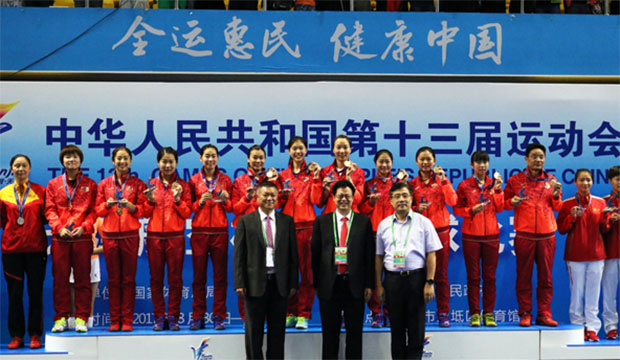 Wang Shixian (third left) leads Jiangsu to the China National Games women's team title.