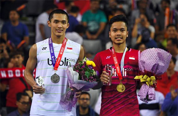 Both Anthony Ginting and Jonatan Christie are establishing themselves among the sport's top men's singles players. (photo: AP)