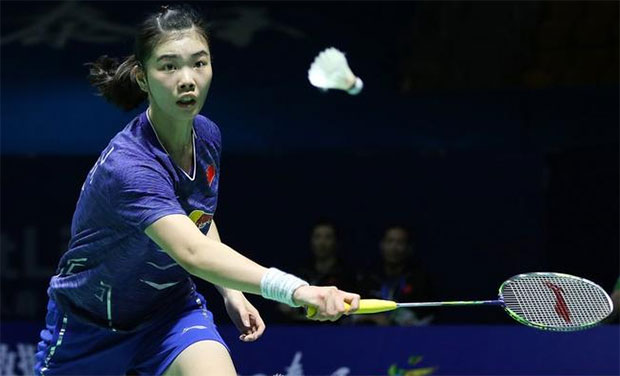China's badminton sensation Gao Fangjie beats Olympic Champion Carolina Marin in China Open semi-finals. (photo: AP)