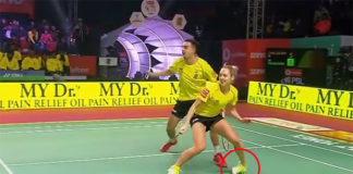 Gabrielle Adcock sprains her ankle in the 2017/2018 Premier Badminton League (PBL).
