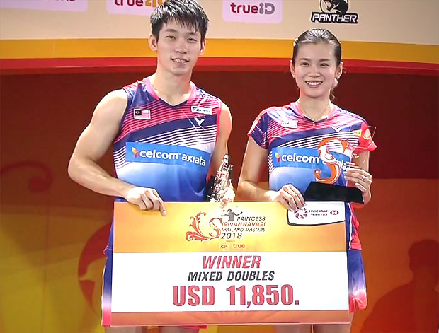 Chan Peng Soon/Goh Liu Ying off to a strong start to 2018 season by winning the Thailand Masters. (photo: AP)