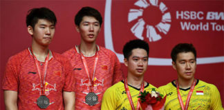 Kevin Sanjaya Sukamuljo/Marcus Fernaldi Gideon are the most dominant men's doubles pair in the world presently. (photo: AP)
