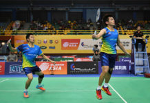 Goh V Shem/Tan Wee Kiong win the only point for the Malaysian team against China in the 2018 BATC Men's team Semi-final tie. (photo: AP)