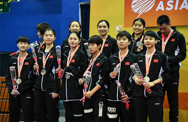 The China women's team on the 2018 Badminton Asia Team Championships (BATC) podium. (photo: AP)