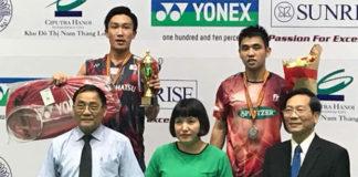 Kenta Momota and Goh Giap Chin on the podium. (photo: Goh Giap Chin's Facebook)