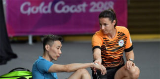 Lee Chong Wei in a practice session ahead of the Commonwealth Games mixed team event. (photo: AP)