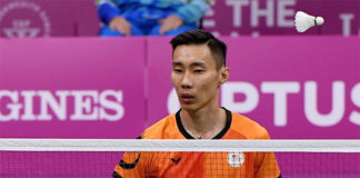 Lee Chong Wei wins an easy match in the first tie of 2018 Commonwealth Games mixed team event. (photo: Bernama)