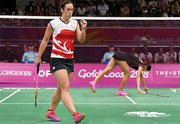 Chloe Birch was excited to be defeat Michelle Li in the mixed team event. (photo: AP)