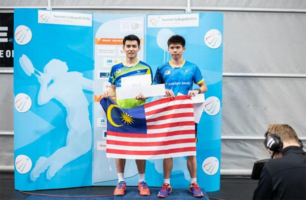 Leong Jun Hao share podium with Cheam Jun Wei at Finnish Open. (photo: BWF)