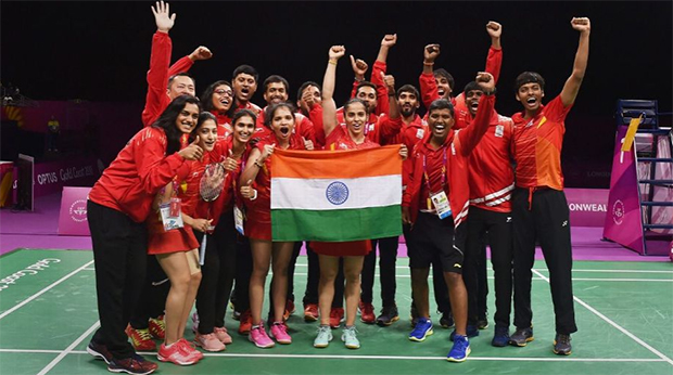 Congratulations to India for winning the 2018 Commonwealth Games badminton mixed team gold medal. (photo: PTI)