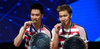 Marcus Fernaldi Gideon/Kevin Sanjaya Sukamuljo are most dominant men's doubles pair of the past 2 years. (photo: AP)