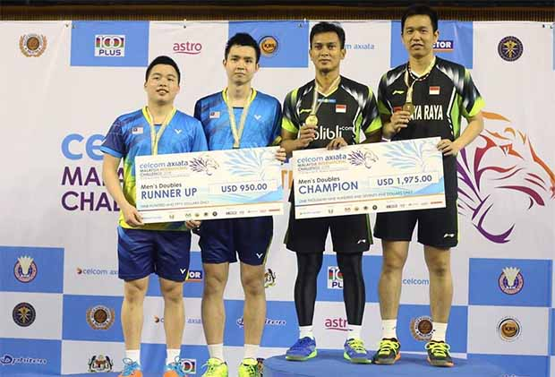 Mohammad Ahsan/Hendra Setiawan win their first title of 2018 by beating Aaron Chia/Soh Wooi Yik in three sets. (photo: BAM)