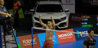 Lin Dan beats Jonatan Christie to win his career 65th singles title at 2018 New Zealand Open. (photo: New Zealand Open)