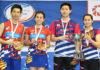 Chan Peng Soon/Goh Liu Ying (left) and Seo Seung Jae/Chae Yujung together on podium. (photo: Viktor Van)