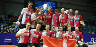 Viktor Axelsen and Denmark team win the 2016 Thomas Cup. (photo: AFP)