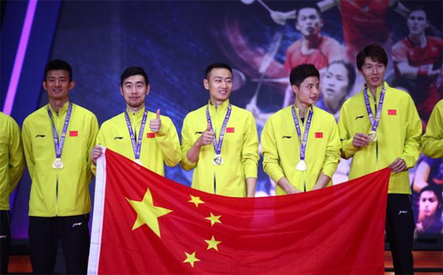 The Chinese shuttlers celebrate their country's 10th Thomas Cup title. (photo: AP)