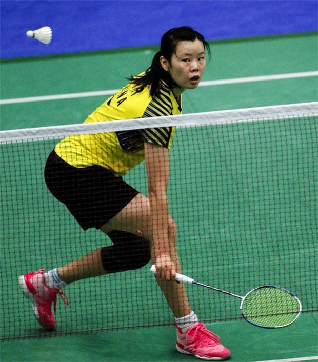 Li Xuerui during the women's singles second round match at US Open. (photo: AP)