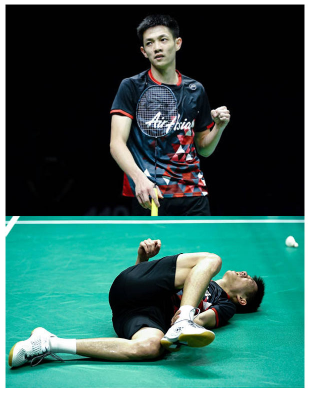 Daren Liew injures his ankle in the 2018 World Championships quarter-finals. (photo AFP)