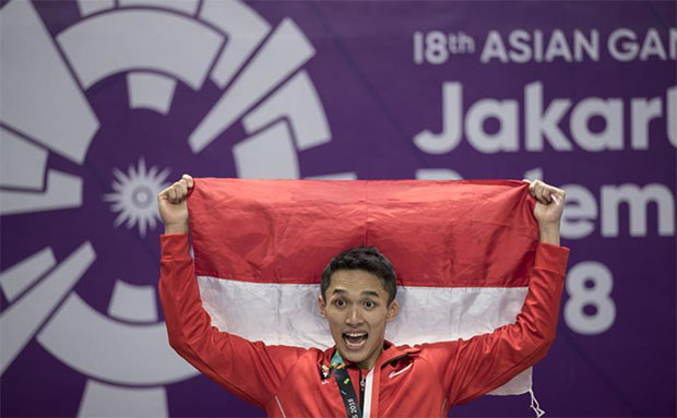 Jonatan Christie wins host Indonesia's signature gold at Asian Games. (photo: AFP)