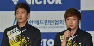 Lee Yong Dae (left) /Kim Gi Jung make return to competitive badminton. (photo: BWF)