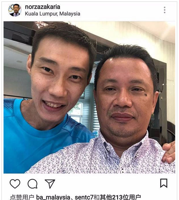 Norza Zakaria (R) takes selfie with the joyful and upbeat Lee Chong Wei. (photo: Norza Zakaria's Instagram)