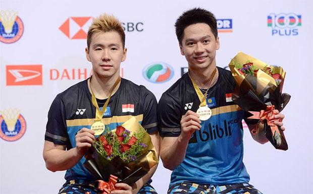 Marcus Fernaldi Gideon/Kevin Sanjaya Sukamuljo are still the dominant men's doubles pair in the world. (photo: Xinhua/Chong Voon Chung)