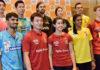 Kidambi Srikanth, Tan Wee Kiong, Carolina Marin, P V Sindhu, Viktor Axelsen are the big names playing in 2018/2019 Premier Badminton League (front row, from left). (photo: PTI)