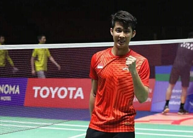 Loh Kean Yew of Singapore reacts after his Thailand Masters match against Lin Dan.