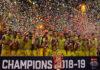 Celebration from Bengaluru Raptors following the win over the Mumbai Rockets. (photo: PBL)