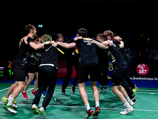 Germany's team members celebrate their 2019 European Mixed Team Badminton Championships semi-final win against Russia. (photo: Badminton Europe)