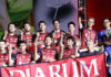 Players from PB Djarum pose for pictures during the award ceremony. (photo: PBSI)