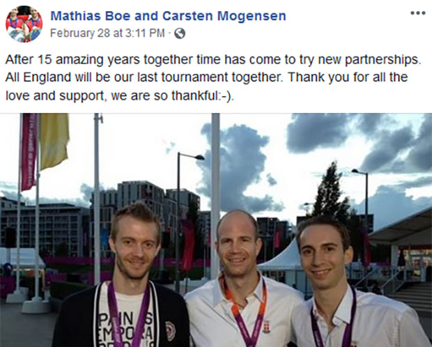 BadmintonPlanet wish Mathias Boe (R) and Carsten Mogensen (L) the best of luck the next phase of their badminton journey. (photo: Mathias Boe and Carsten Mogensen's Facebook)