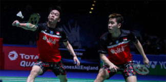 Marcus Gideon/Kevin Sukamuljo ousted in day of upsets at the 2019 All England. (photo: Shi Tang/Getty Images)