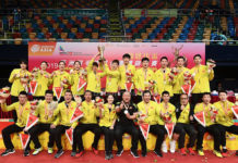 China celebrate after defeating Japan 3-2 in the 2019 Asia Mixed Team Championships. (photo: Badminton Asia)
